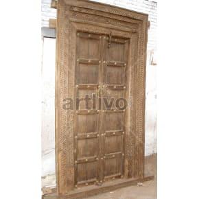 Vintage Indian Brown Deluxe Solid Wooden Teak Door