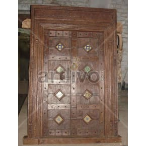 Vintage Indian Brown Aristocratic Solid Wooden Teak Door