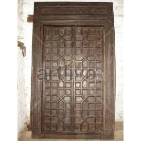 Vintage Indian Brown Marvellous Solid Wooden Teak Door