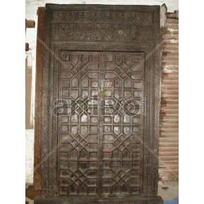 Vintage Indian Chiselled Unique Solid Wooden Teak Door