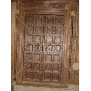 Vintage Indian Chiselled Stately Solid Wooden Teak Door