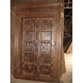 Vintage Indian Engraved Extravagant Solid Wooden Teak Door