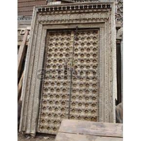 Vintage Indian Engraved Imperial Solid Wooden Teak Door with metal work