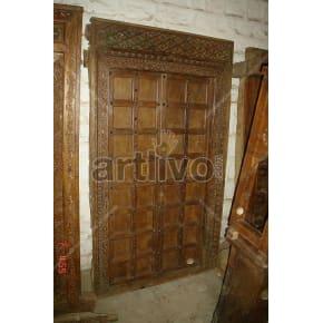 Vintage Indian Engraved Marvellous Solid Wooden Teak Door