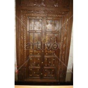 Vintage Indian Sculpted Opulent Solid Wooden Teak Door