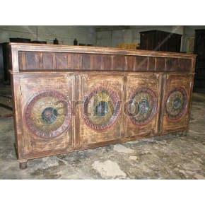 Vintage Indian Carved Supreme Solid Wooden Teak Sideboard with 4 door circular design