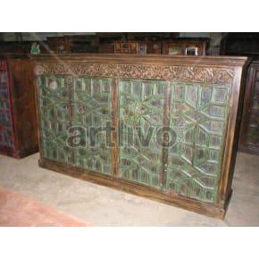 Vintage Indian Brown Extravagant Solid Wooden Teak Sideboard with 4 door