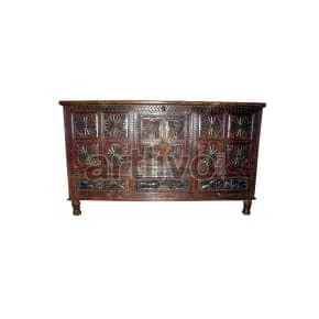 Vintage Indian Brown Plush Solid Wooden Teak Sideboard with 12 Square block floral design