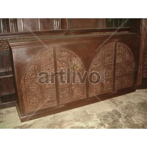 Vintage Indian Brown Supreme Solid Wooden Teak Sideboard with 4 door cenotaph design