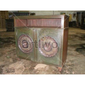 Vintage Indian Brown Marvellous Solid Wooden Teak Sideboard with 2 door circular design