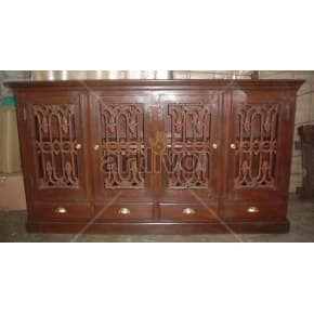 Vintage Indian Chiselled Luscious Solid Wooden Teak Sideboard with 4 door & 4 Drawer
