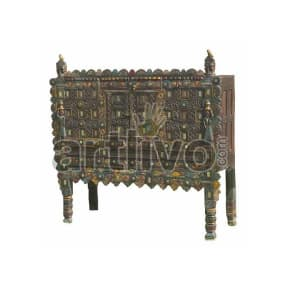 Antique Indian Carved Royal Solid Wood small mirror glass fitted Trunk