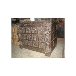 Antique Indian Carved Superb Solid Wood brown color Trunk