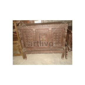Old Indian Carved Royal Solid Wood brown color Trunk