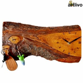 ECOLOG Raw Rustic Wooden Wall Clock with Key Hooks