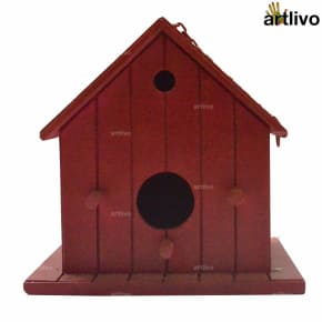 Decorative Hanging Bird House - Red