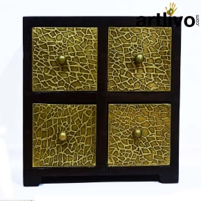 POPART Wooden 4 Drawer Square Box with brass work for bedroom/ living room/ kitchen