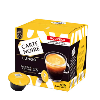 Carte Noire Lungo package and capsule for Dolce Gusto