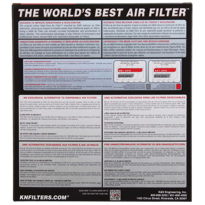 K/&N 33-2935 Performance Replacement Drop-In Air Filter