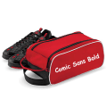 Comic sans text on red boot bag