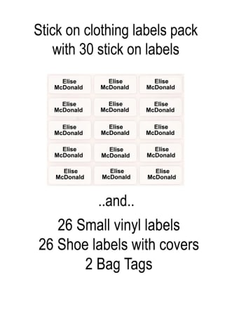 Stick on Clothing Labels Pack