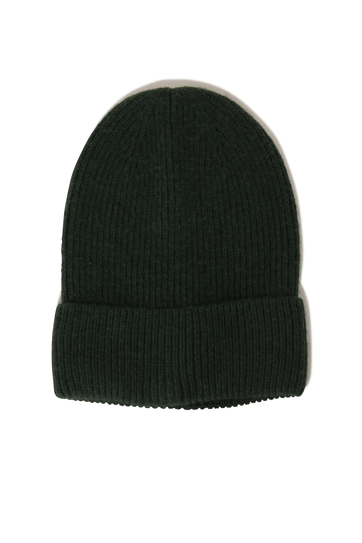 Dark Green Cashmere Rib Knit Beanie Hat