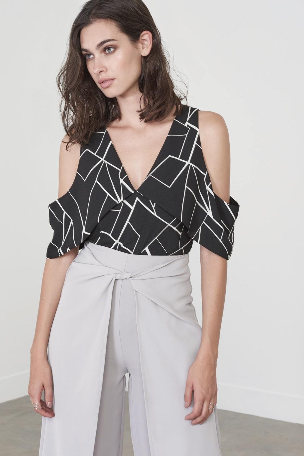 Shard Print Drop Sleeve Bodysuit
