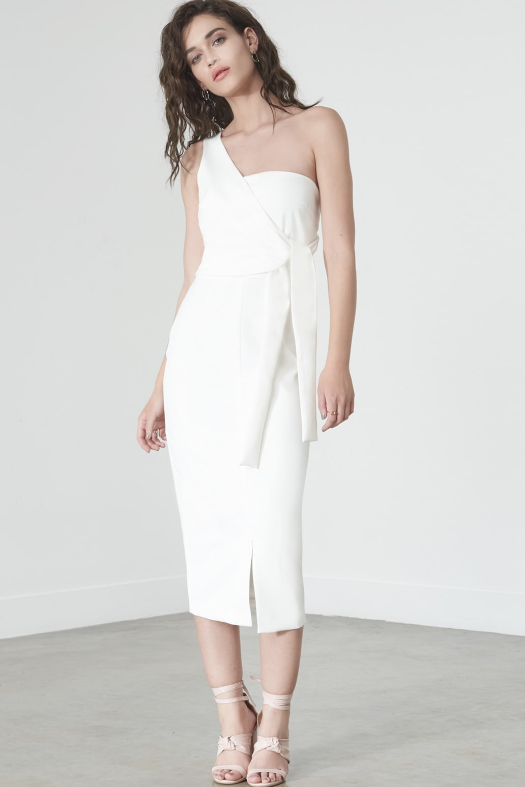 One Shoulder Dress in Soft White