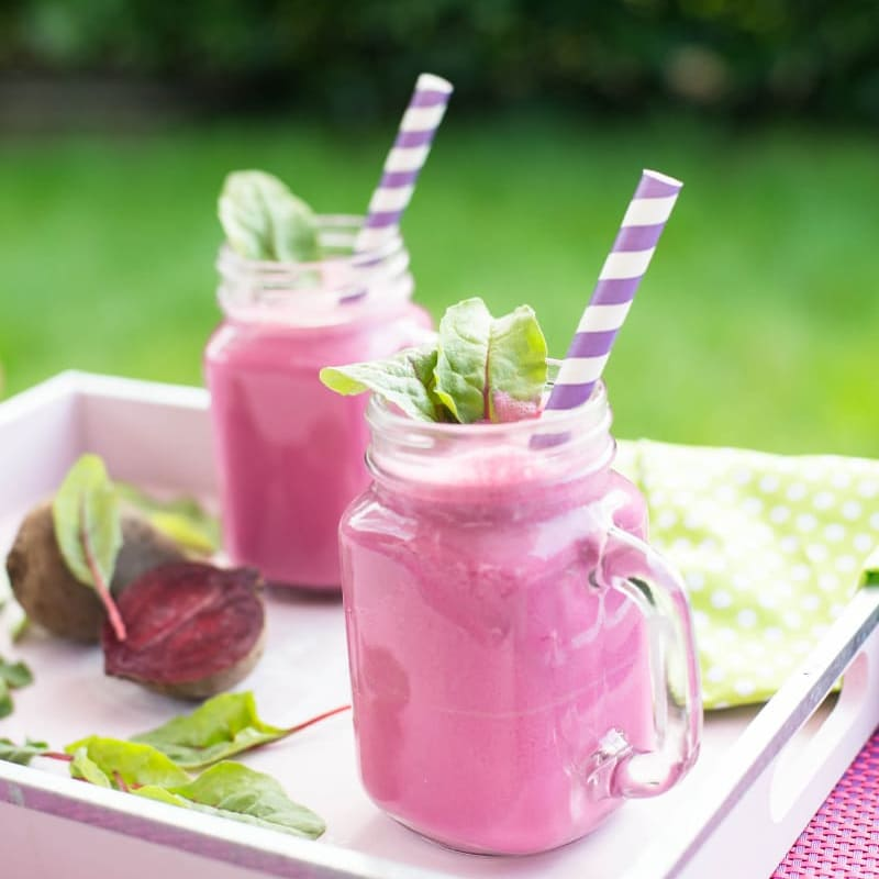 beetroot smoothies sitting on a tray