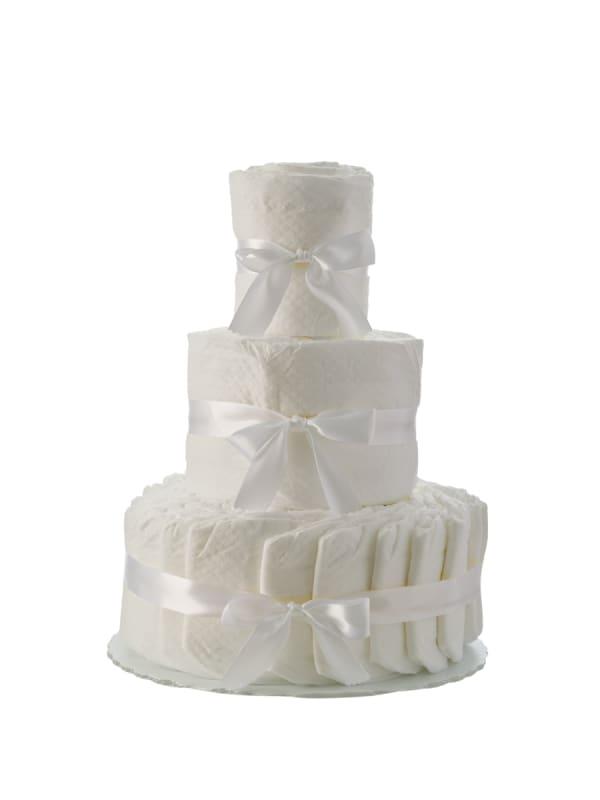 Plain White 3 Tier Diaper Cake