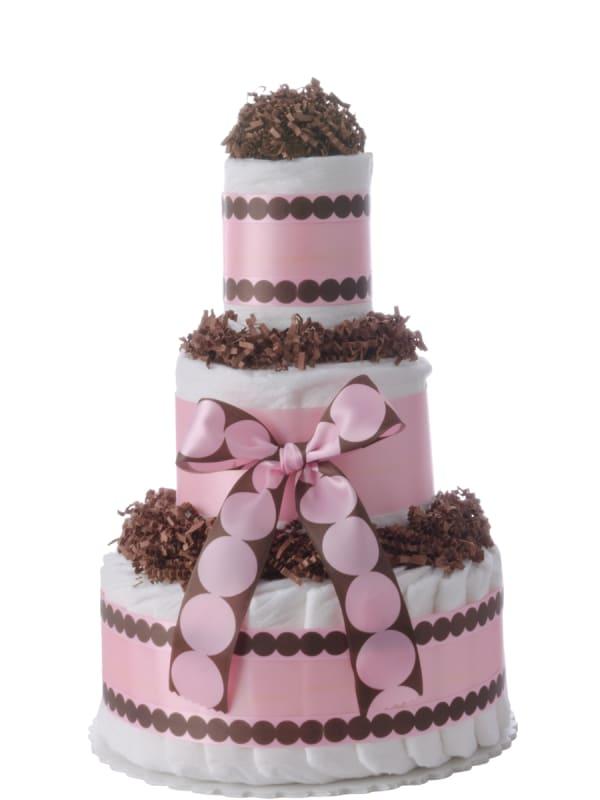 Pink Dots Baby Girl Diaper Cake