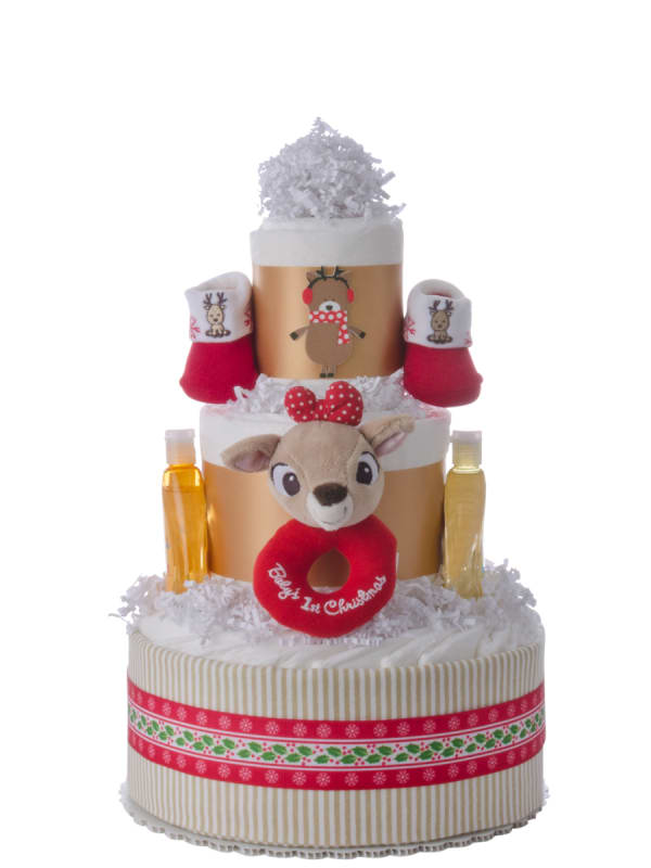 Baby's First Christmas Diaper Cake for Girls
