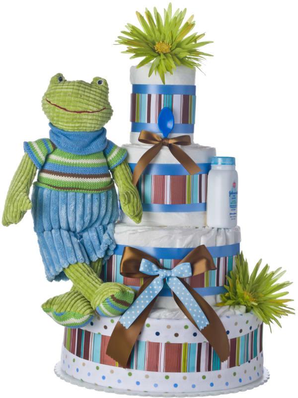 Blue Frog 4 Tier Baby Diaper Cake