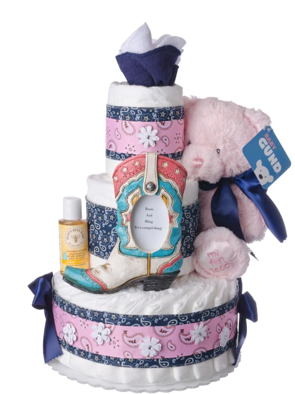 Boots and Bling Diaper Cake for Girls