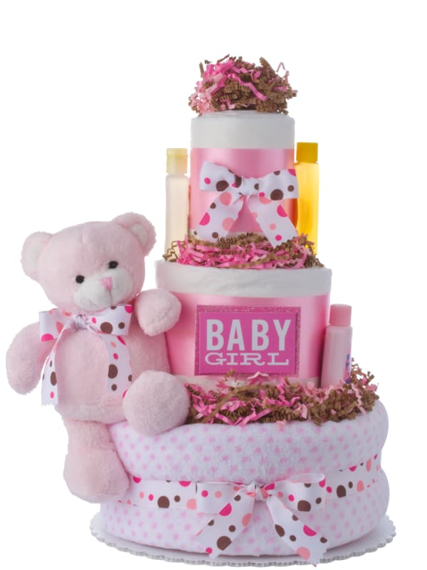 Dottie Pink Bear Girls Diaper Cake