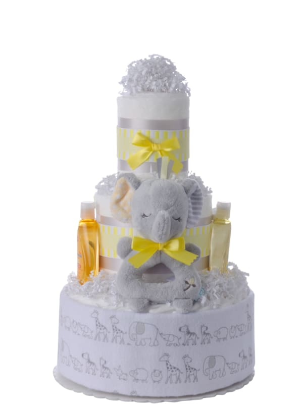 Elephant Blankie Neutral Diaper Cake and Book