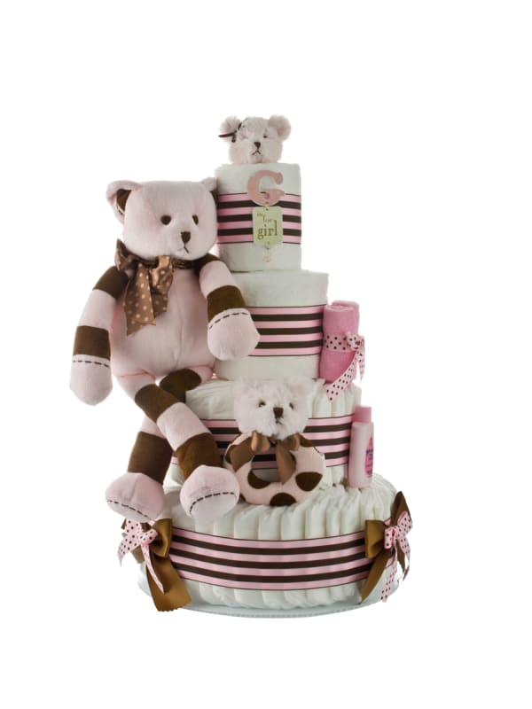G is for Girl Pink Brown Bear Diaper Cake
