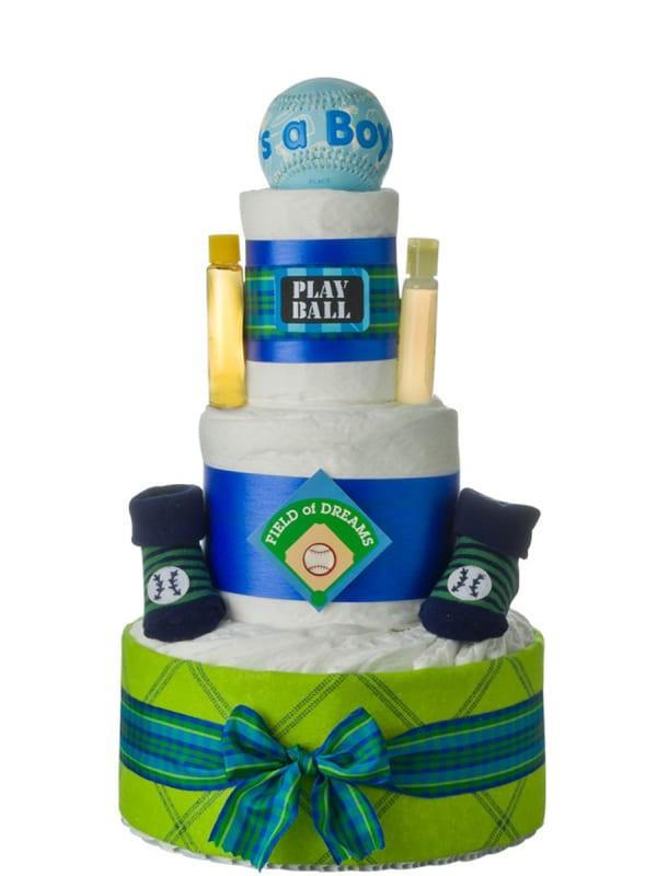 Lil' Baby Cakes Baseball 3 tier Diaper Cake