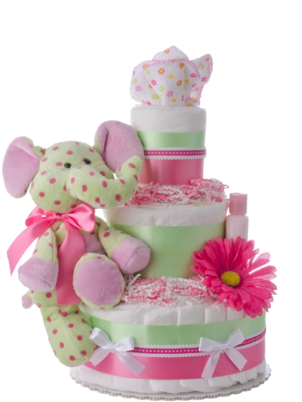 Lil' Dottie elephant 3 Tier Baby Diaper Cake