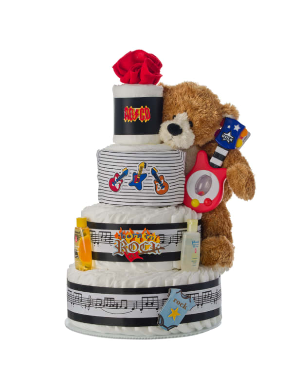Born To Rock 4 Tier Diaper Cake