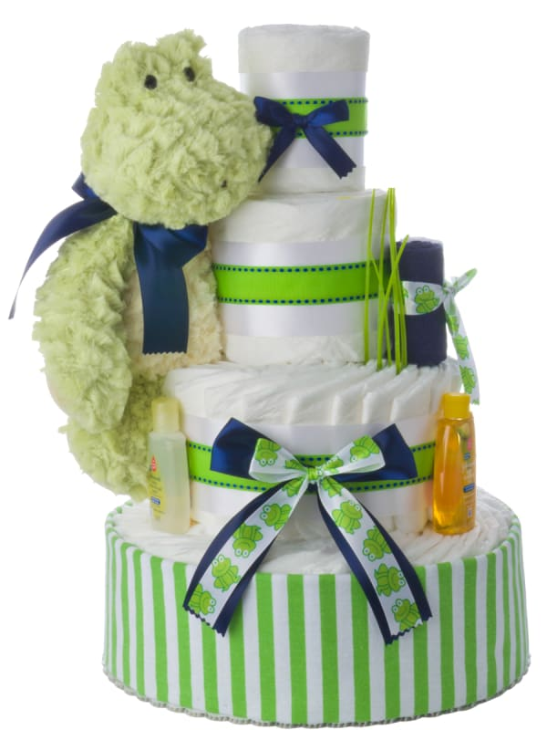 Mellow Yellow Frog Neutral Diaper Cake