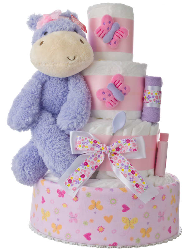 Lil' Happy Hippo 4 Tier Diaper Cake