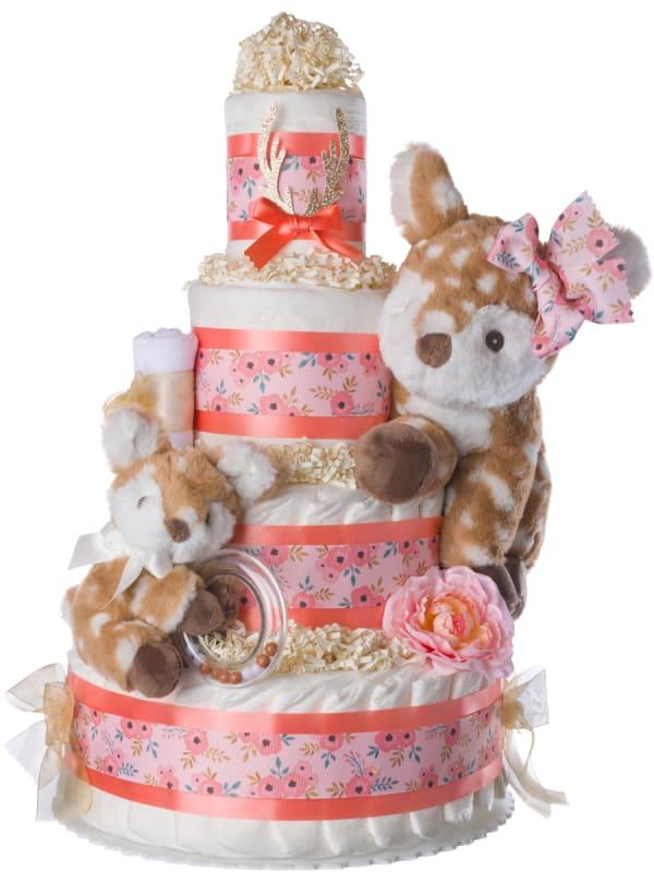 O Deer Baby Diaper Cake for Girls