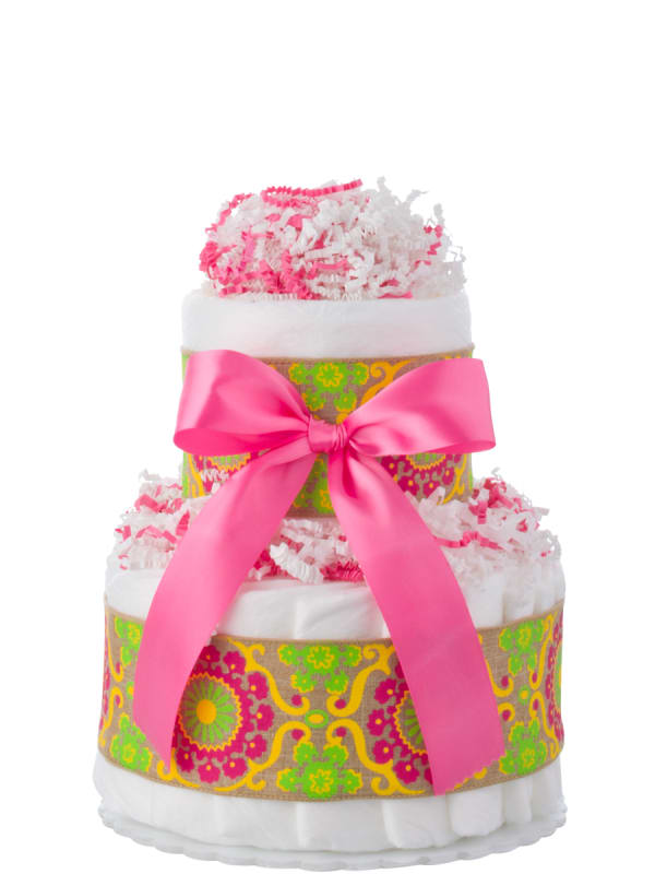 Paisley Two Tier Mini Diaper Cake
