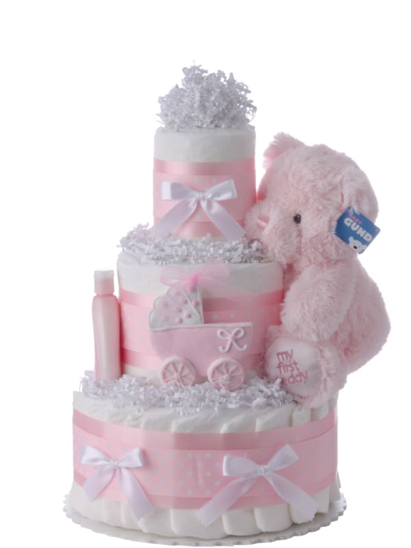 Pink Carriage Diaper Cake for Girls