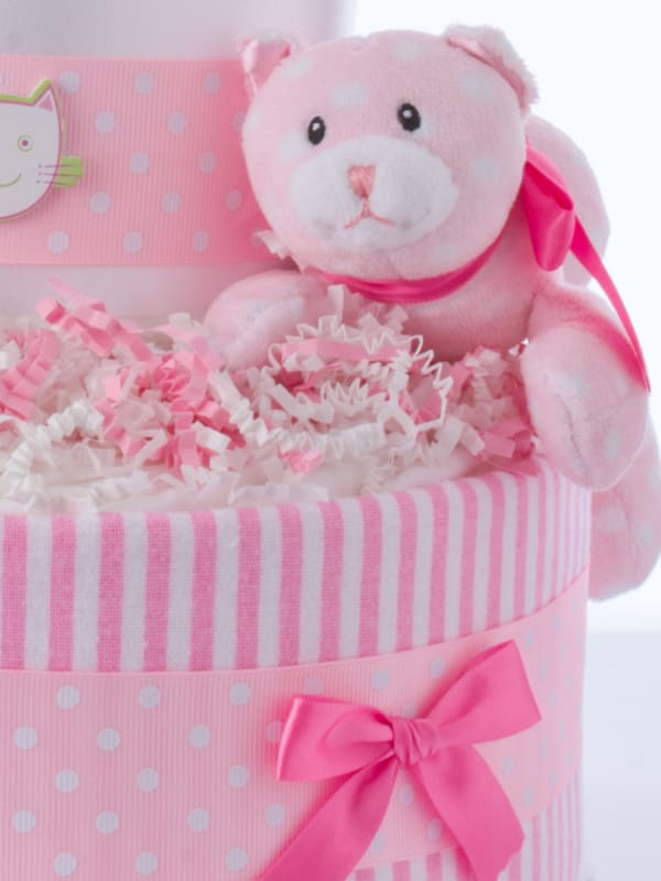 Pink Kitty Girl Diaper Cake