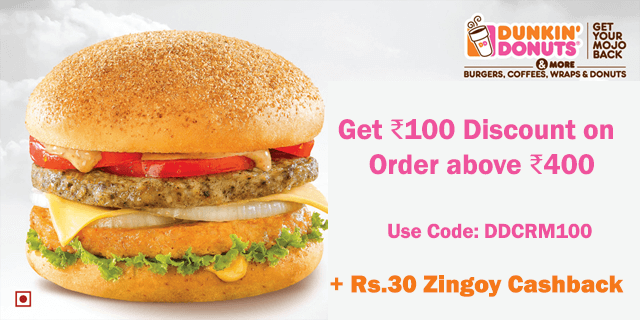 Dunkin donuts   rs.100 off on orders above rs.400 rdlld6