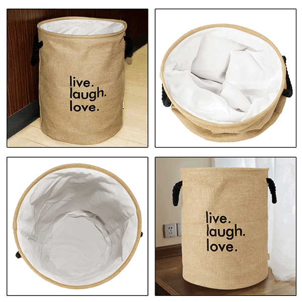 Laundry Basket European Pattern Folding Jute Round 'Live Laugh Love' Laundry Hamper (Cream)