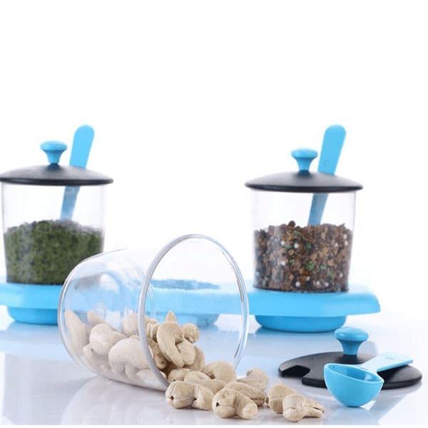 Multipurpose Plastic Spice or Storage Jar Set with Spoon, 3-Piece set (Assorted Color )