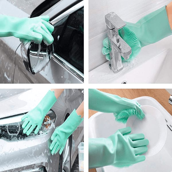 Silicone Hand Gloves For Dishwashing and Cleaning Purpose (Assorted colour)